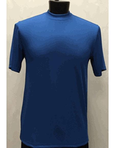 Mens Classy Mock Neck Shiny Royal Blue Short Sleeve Stylish Shirt