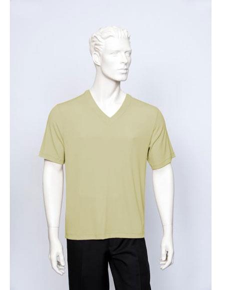 Tulliano Poly/Spandex S/SL Ribbed Crew Neck Men's V-Neck Ribbed Sand Short Sleeve