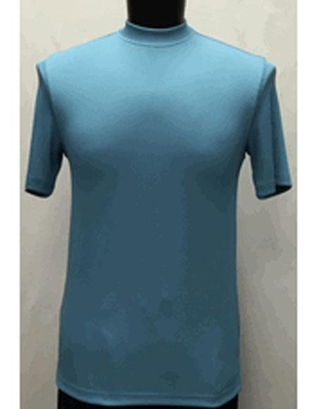 Men's Classy Mock Neck Shiny Sky Blue Short Sleeve Stylish Shirt