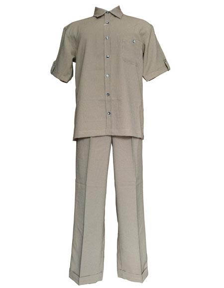 Mens Tan checkered check pattern suit Short Sleeve Shirt and Pant Leisure Set