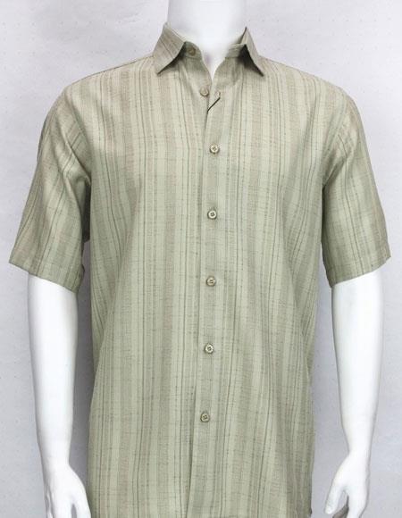 Bassiri stripe button down Short Sleeve mens Taupe fashion shirt