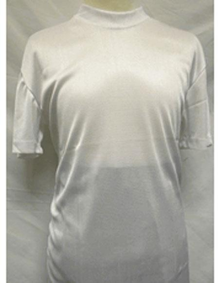 Mens Stylish White Mock Neck Shiny Short Sleeve Shirt