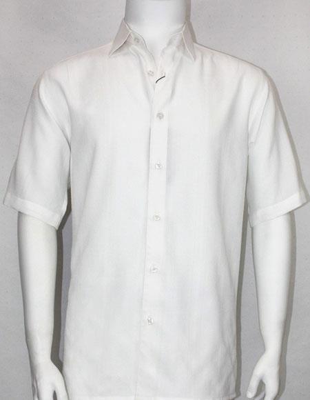 Bassiri button down Short Sleeve mens fashion White shirt