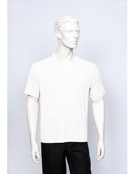 Tulliano Poly/Spandex S/SL Ribbed Crew Neck Men's V-Neck Ribbed White Short Sleeve
