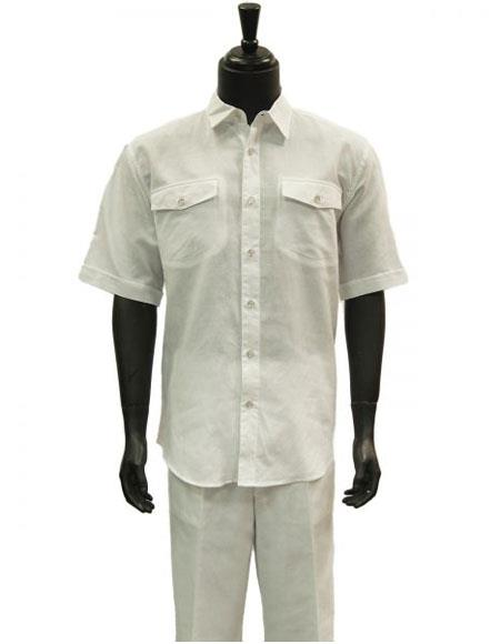 Mens Short Sleeve White Linen Two Piece Casual Casual Two Piece Walking Outfit For Sale Pant Sets Suit