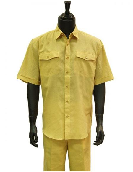 Mens Butter Lemon Yellow Linen 2 Piece Short Sleeve Casual Casual Two Piece Walking Outfit For Sale Pant Sets Suit