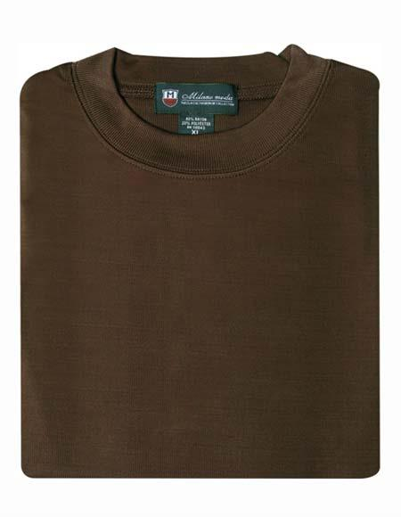 Mens 80% Rayon 20% Polyester Brown Regular Fit Short Sleeves Knitted Sweater