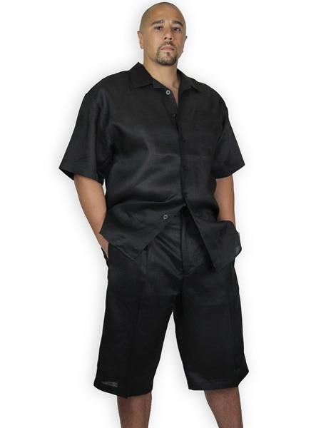 Mens Shirt And Shorts Black Two Piece Casual Set Walking Leisure Suit