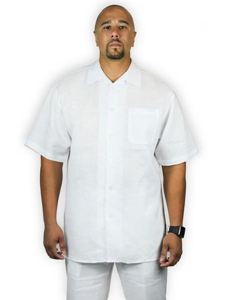 Mens Two Piece Shirt And Shorts White Casual 100% Linen Set Suit