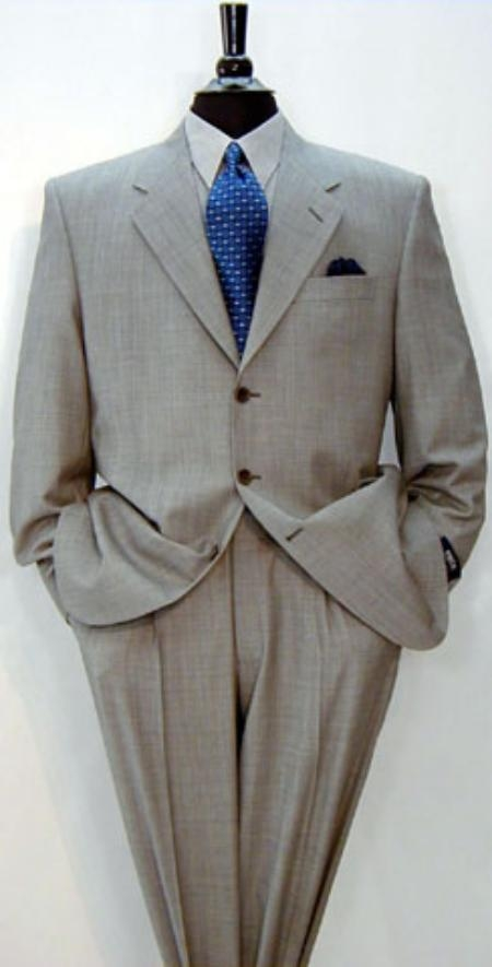 SKU# EMI_J1 Signature Gold 3-Button Super 150s Wool & Marino Wool Solid Light Gray premier quality italian fabric Suit No P