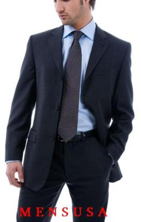 MensUSA.com Signature Gold Flat Front Pants Dark Navy Blue 3 Button 100 Wool premeier quality italian fabric Design (Exchange only policy) at Sears.com