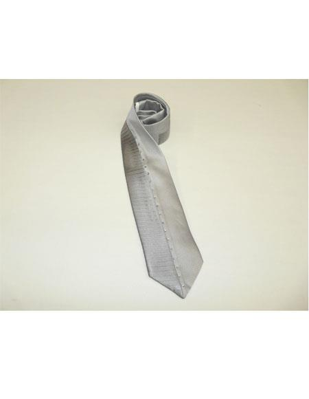 Steven Land Men's 100% Silk Silver Satin Crystal Pleat Necktie