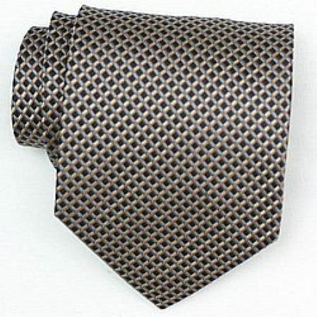 SKU#EK843 Silk Black/Brown/Blue Woven Necktie $39