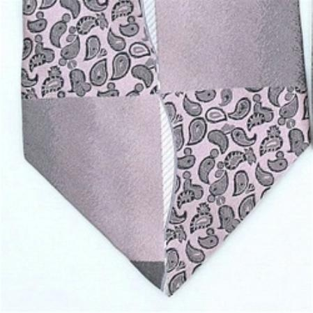 SKU#YX456 Silk Black Pink Extra Long Woven Paisley/Flower Pattern Necktie $39