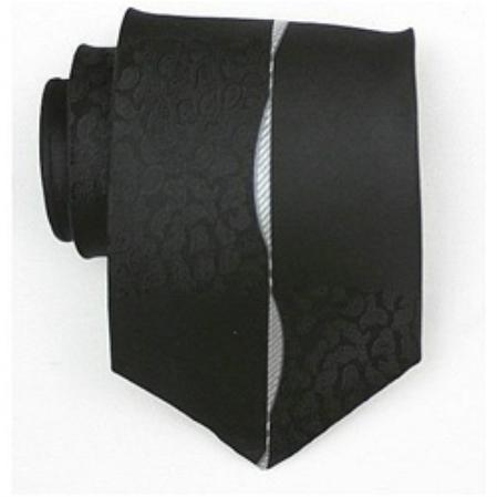 SKU#SB777 Silk Black/White Extra Long Woven Paisley/Flower Pattern Necktie $39