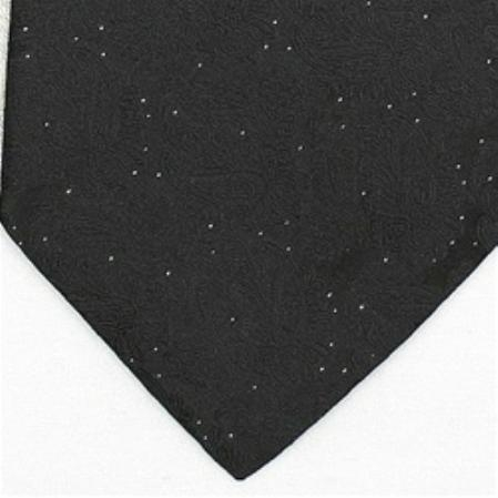 SKU#BD467 Silk Black /Metallic Silver Extra Long Woven Paisley/Flower Pattern Necktie $39