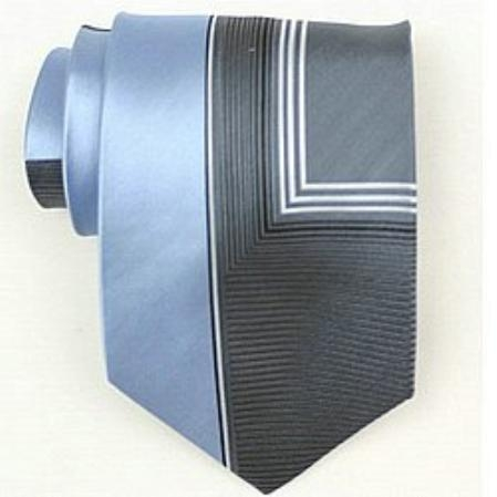 SKU#OV512 Silk Blue/grey/white Woven Necktie $39