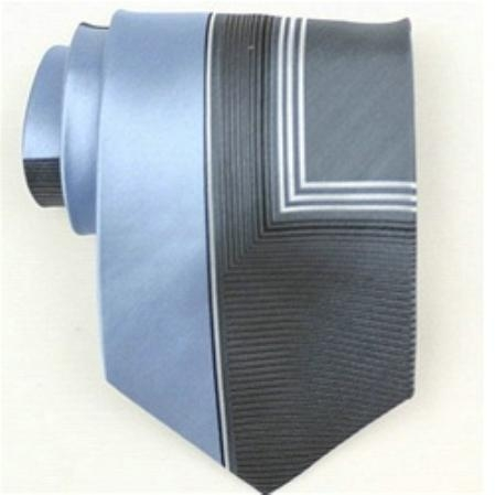 SKU#DZ743 Silk Blue/grey/white Extra long Woven Necktie $39