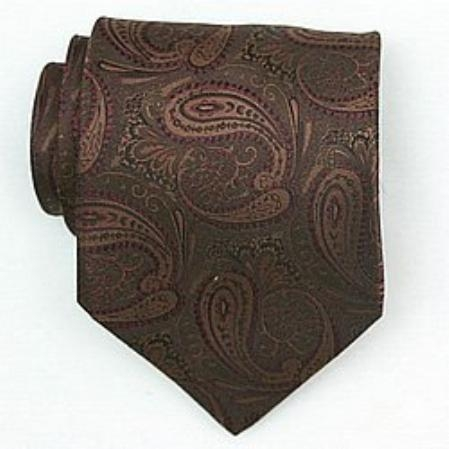 SKU#EB584 Silk Brown/Burgundy Woven Paisley/Flower Pattern Necktie $39