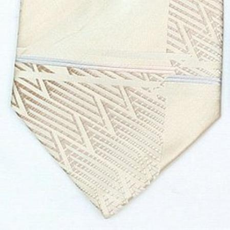 SKU#TC604 Silk Cream/Beige Woven Paisley/Flower Pattern Necktie $39