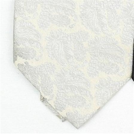 SKU#DZ900 Silk Cream/Metallic Silver Extra Long Woven Paisley/Flower Pattern Necktie $39