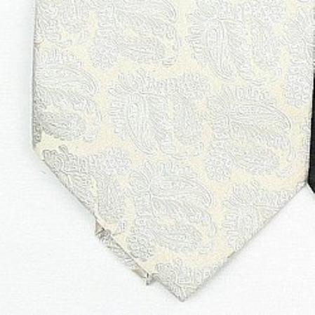 SKU#RX553 Silk Cream /Metallic Silver Woven Paisley/Flower Pattern Necktie $39