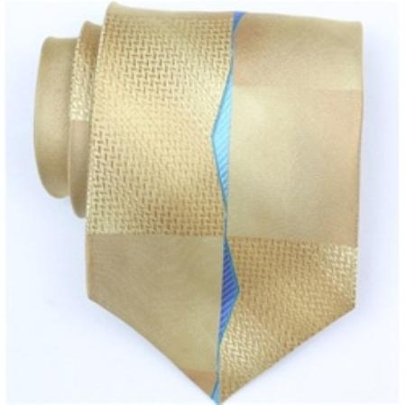 SKU#QK633 Silk Gold/Blue Extra Long Woven Necktie $39