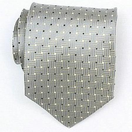 SKU#TV735 Silk Grey/Black/Gold/White Woven Necktie $39