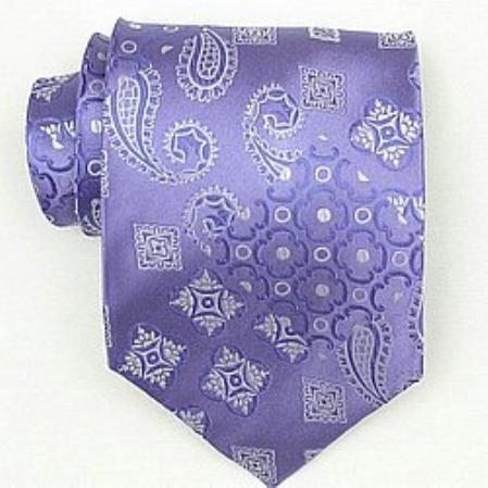 SKU#OZ583 Silk Lavender Extra Long Woven Paisley/Flower Pattern Necktie $39