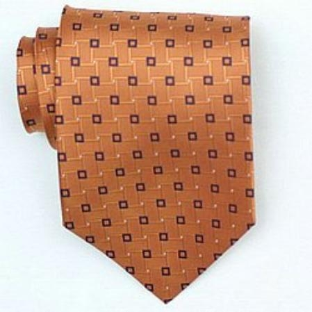 SKU#DG676 Silk Orange/Black Woven Necktie $39