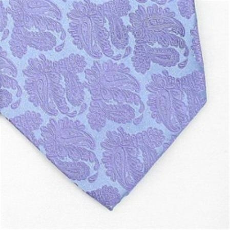 SKU#GV733 Silk Purple/Metallic Silver Extra Long Woven Paisley/Flower Pattern Necktie $39