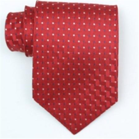 SKU#PZ502 Silk Red/Blue/White Extra Long Woven Necktie $39