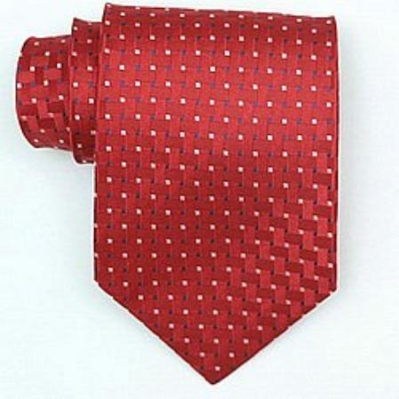 SKU#BW890 Silk Red/Blue/White Woven Necktie $39