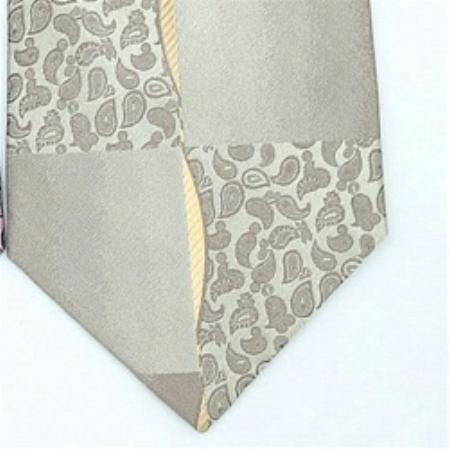 SKU#IC653 Silk Tan Beige Extra Long Woven Paisley/Flower Pattern Necktie $39