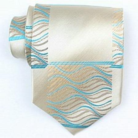 SKU#GB842 Silk Tan/turquoise ~ Light Blue Colored Woven Paisley/Flower Pattern Necktie $39
