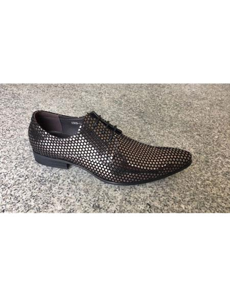 Mens Silver ~ Black Man Made Texture Dot Pattern Lace Up Geniune Leather Footwear