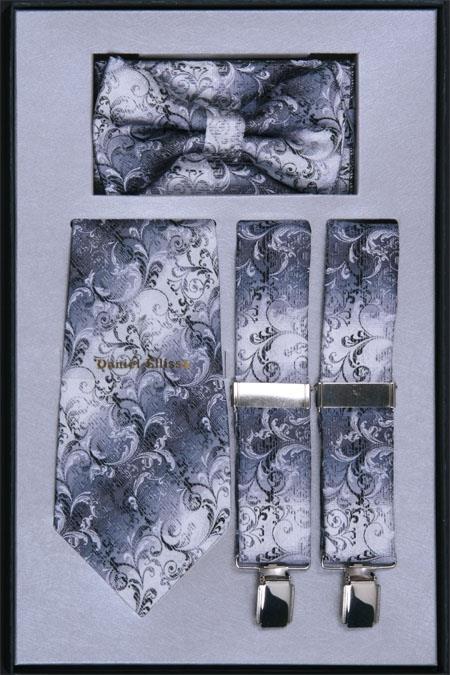 SKU#VK84 Mens Suspender, Tie, Bow Tie ~ Bowtie and Hanky Set Silver
