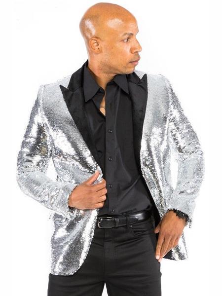 Sequin Fabric Men's Silver Grey ~ Gray Blazer Dinner Jacket