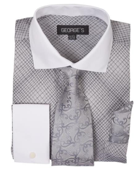 Silver Long Sleeve White Collar Two Toned Contrast Check Pattern Fashion Tie Set Mens Dress Shirt