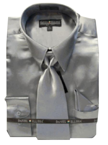Fashion Cheap Priced Sale Men's New Silver Satin Dress Shirt Combinations Set Tie Combo Shirts
