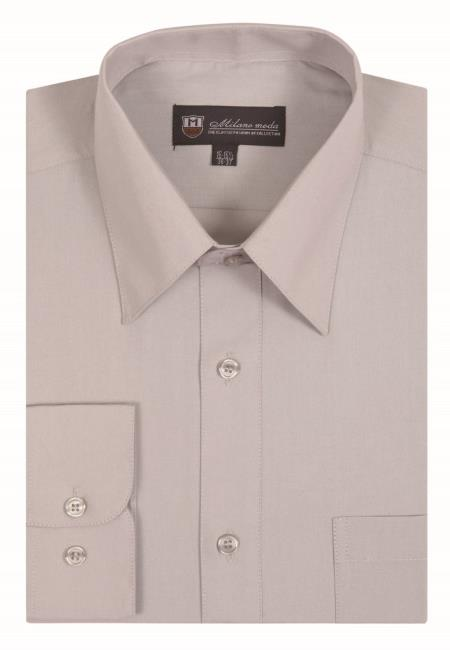 Silver Plain Traditional Solid Color Mens Dress Shirt