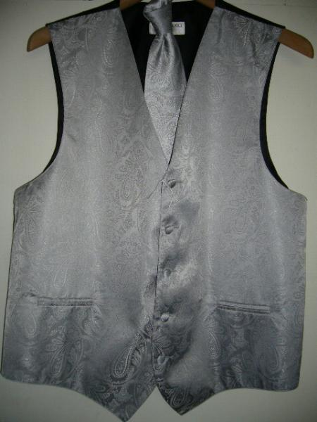 SILVER DRESS TUXEDO WEDDING Vest ~ Waistcoat ~ Waist coat & TIE SET Buy 10 of same color Tie For $25 Each