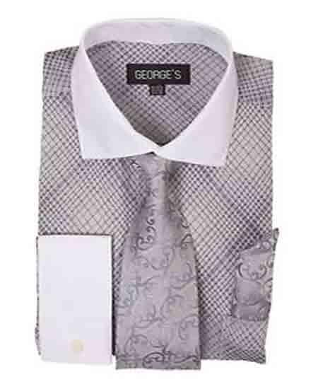 Buy SM1181 Men's French Cuff Silver Mini Plaid/Checks White Collar Two Toned Contrast Dress Shirt Tie Handkerchief