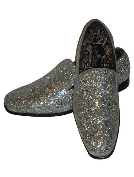 5a23243a6e93 SKU SM5129 Mens Silver Slip On Style Glitter Dress Loafers Glitter ~ Sparkly  Shoes Sequin