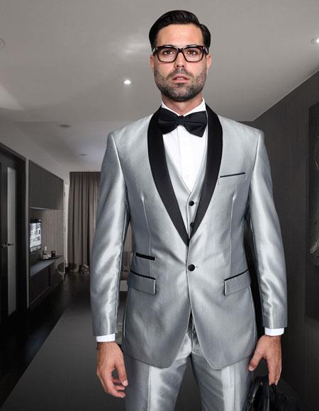 Sku Shark Tuxap565 Mens Shiny Sharkskin Tuxedo Silver Gra