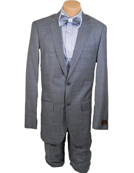 Mens High Fashion Single Breasted 100% Wool Silver Grey Extra Long Suits Flat Front Pants