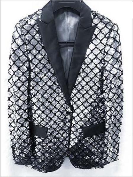 Mens Shiny Flashy Fashion Silver Sequin Blazer ~ Sport coat Dinner Jacket