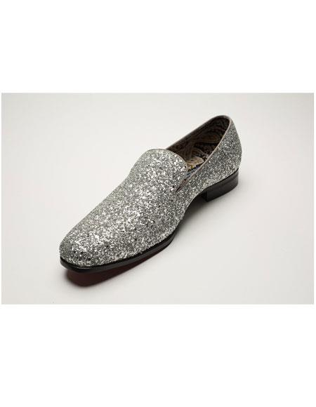 Mens Silver Shiny Slip On Fashionable Glitter ~ Sparkly Shoes Sequin Shiny Flashy Look
