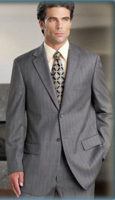SKU#D622SI Silver Gray Pinstripe (Very Light Gray (Ash)) 2 Button Double Vent Mens Suit