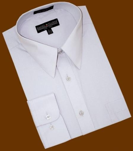SKU#JU828 Silver Grey Cotton Blend Dress Shirt With Convertible Cuffs $39